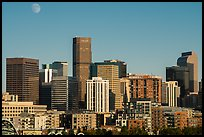 City skyline and moon. Denver, Colorado, USA ( color)