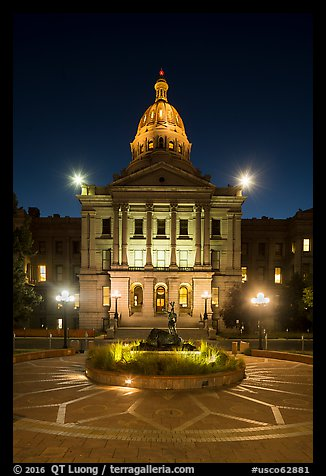Colorado State Capitol at night. Denver, Colorado, USA (color)
