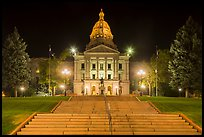 Stairs and Colorado State Capitol at night. Denver, Colorado, USA ( color)