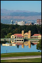City Park Pavilion, city skyline, and mountains. Denver, Colorado, USA ( color)