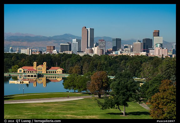 City Park, skyline, and Rocky Mountains. Denver, Colorado, USA (color)