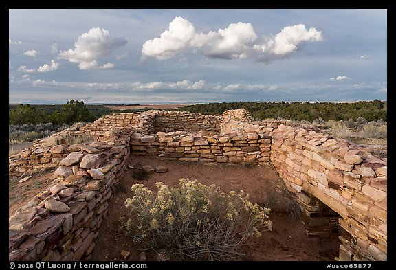 Ruined walls, Lowry Pueblo. Canyon of the Anciens National Monument, Colorado, USA (color)