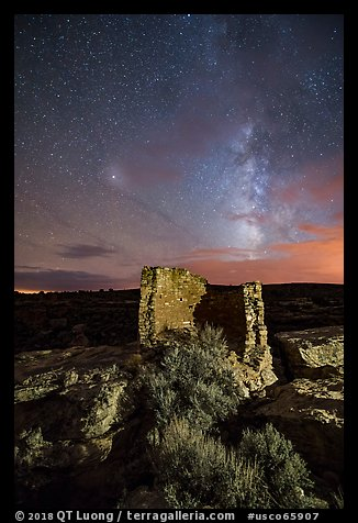 Milky Way over Tower Point at night. Hovenweep National Monument, Colorado, USA (color)