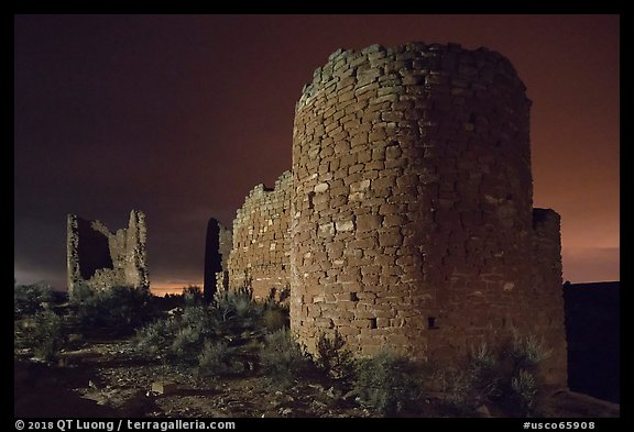 Hovenweep Castle at night. Hovenweep National Monument, Colorado, USA (color)