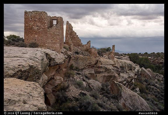 Hovenweep Castle and canyon rim. Hovenweep National Monument, Colorado, USA (color)