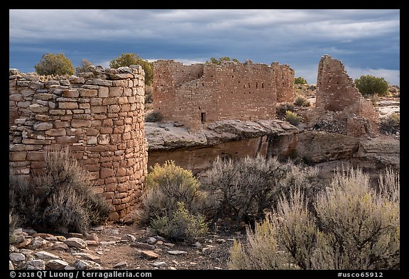 Hovenweep House and Hovenweep Castle. Hovenweep National Monument, Colorado, USA (color)