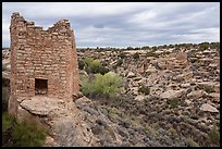 Twin Towers and  Little Ruin Canyon. Hovenweep National Monument, Colorado, USA ( color)