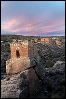 Stronghold House, Twin Towers, Hovenweep House, and Eroded Boulder House, sunrise. Hovenweep National Monument, Colorado, USA ( color)