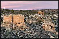 Twin Towers, Hovenweep House, and Eroded Boulder House. Hovenweep National Monument, Colorado, USA ( color)