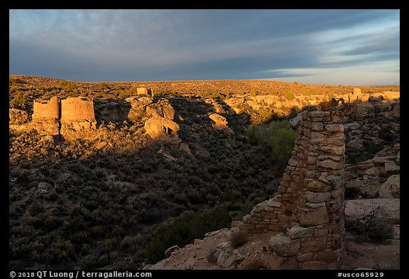 Pueblo community from Canyon Overlook. Hovenweep National Monument, Colorado, USA (color)