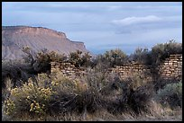 Lower House and cliff. Yucca House National Monument, Colorado, USA ( color)