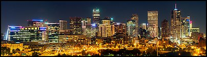 Skyline at night. Denver, Colorado, USA (Panoramic color)