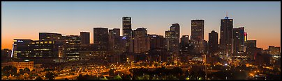 Skyline at dawn. Denver, Colorado, USA (Panoramic color)