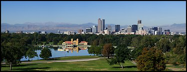 Skyline with City Park. Denver, Colorado, USA (Panoramic color)