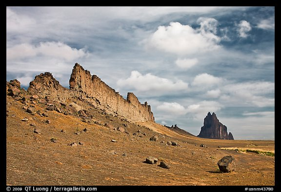 Golden wall and Shiprock. Shiprock, New Mexico, USA (color)