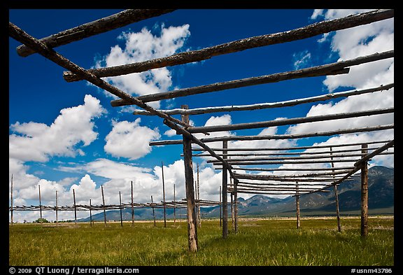 Wooden drying racks. Taos, New Mexico, USA (color)
