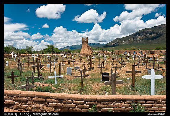 Cemetery and old church. Taos, New Mexico, USA (color)