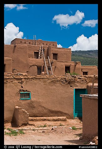 Multi-story adobe house. Taos, New Mexico, USA