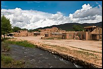 Rio Pueblo stream and pueblo village. Taos, New Mexico, USA ( color)