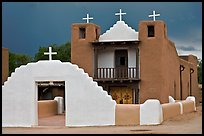 San Geronimo church under dark sky. Taos, New Mexico, USA