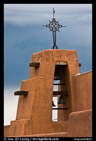 Church Bell tower in adobe style. Taos, New Mexico, USA