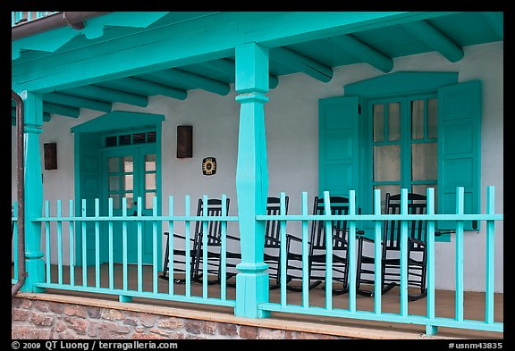 Porch of historic house. Taos, New Mexico, USA (color)