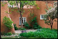 Garden and pueblo revival style building. Taos, New Mexico, USA ( color)