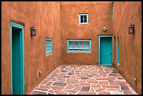 Courtyard and adobe walls. Taos, New Mexico, USA ( color)