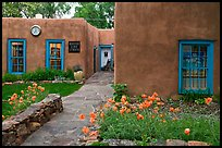 Front yard and pueblo style houses. Taos, New Mexico, USA ( color)