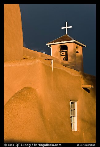 San Francisco de Asisis church under stormy sky. Taos, New Mexico, USA (color)