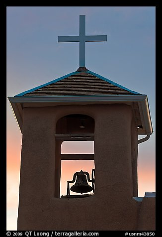 Bell tower at sunset, San Francisco de Asisis church, Rancho de Taos. Taos, New Mexico, USA (color)