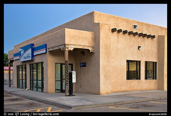 Post office in adobe style, Rancho de Taos. Taos, New Mexico, USA (color)