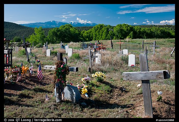 Crosses and headstones, cemetery, Picuris Pueblo. New Mexico, USA (color)