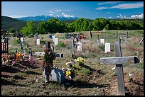 Crosses and headstones, cemetery, Picuris Pueblo. New Mexico, USA