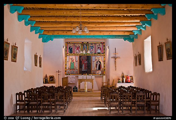 Interior of San Lorenzo Church, Picuris Pueblo. New Mexico, USA (color)