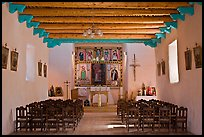 Interior of San Lorenzo Church, Picuris Pueblo. New Mexico, USA