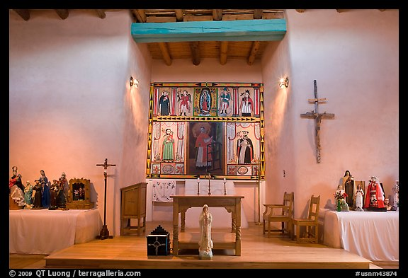 Altar, San Lorenzo Church, Picuris Pueblo. New Mexico, USA (color)