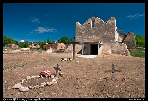 Graves and Picuris Church, Picuris Pueblo. New Mexico, USA (color)
