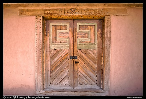 Door of San Jose de Gracia Church. New Mexico, USA (color)