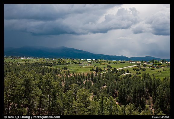 Truchas and Sangre de Christo Mountains with approaching storm. New Mexico, USA (color)
