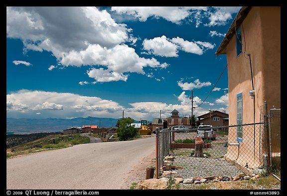 House and main street, Truchas. New Mexico, USA (color)