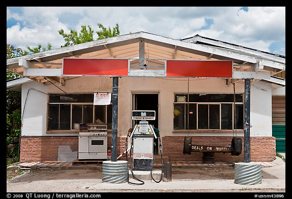 Gas station, Truchas. New Mexico, USA (color)
