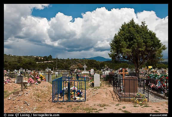 Fenced tombs, Truchas. New Mexico, USA (color)