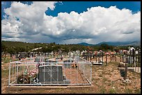 Cemetery and clouds, Truchas. New Mexico, USA ( color)