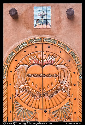 Decorated door, Sanctuario de Chimayo. New Mexico, USA (color)
