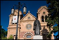 Front of St Francis Cathedral and Archibishop Lamy statue. Santa Fe, New Mexico, USA