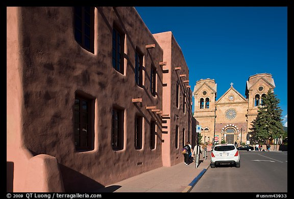 Side of the American Indian art museum and St Francis Cathedral. Santa Fe, New Mexico, USA (color)