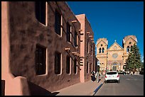 Side of the American Indian art museum and St Francis Cathedral. Santa Fe, New Mexico, USA ( color)