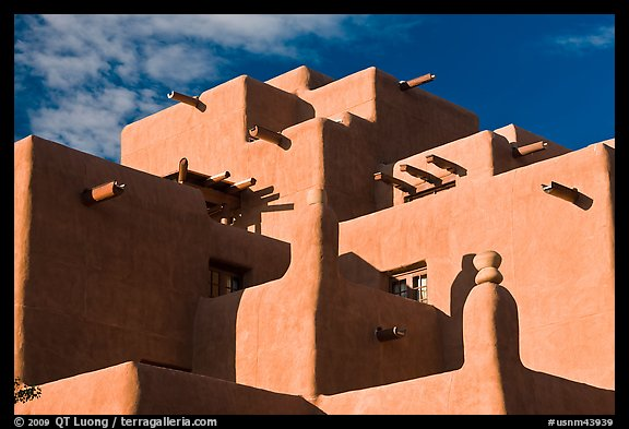 Pueblo style Loreto Inn. Santa Fe, New Mexico, USA (color)