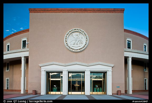 West entrance of New state Mexico Capitol. Santa Fe, New Mexico, USA (color)